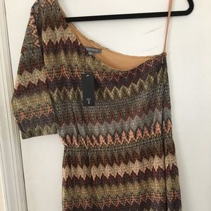 One shoulder knit dress- small- geometric